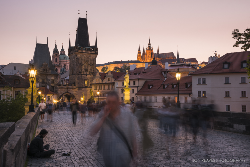 Pedestrians on the Charles Bridge, Prague, Czech Republic