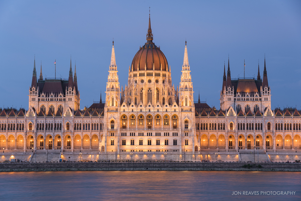 Hungarian Parliament just after sunset.
