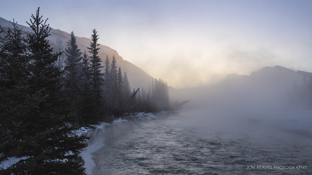Mist rising from the Bow River at -30°F, Canmore, Alberta