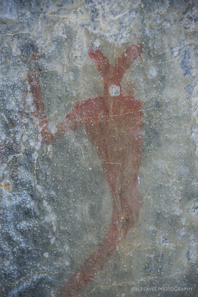 Close-up of 500-1000 year-old Pictograph, Grotto Canyon, Alberta