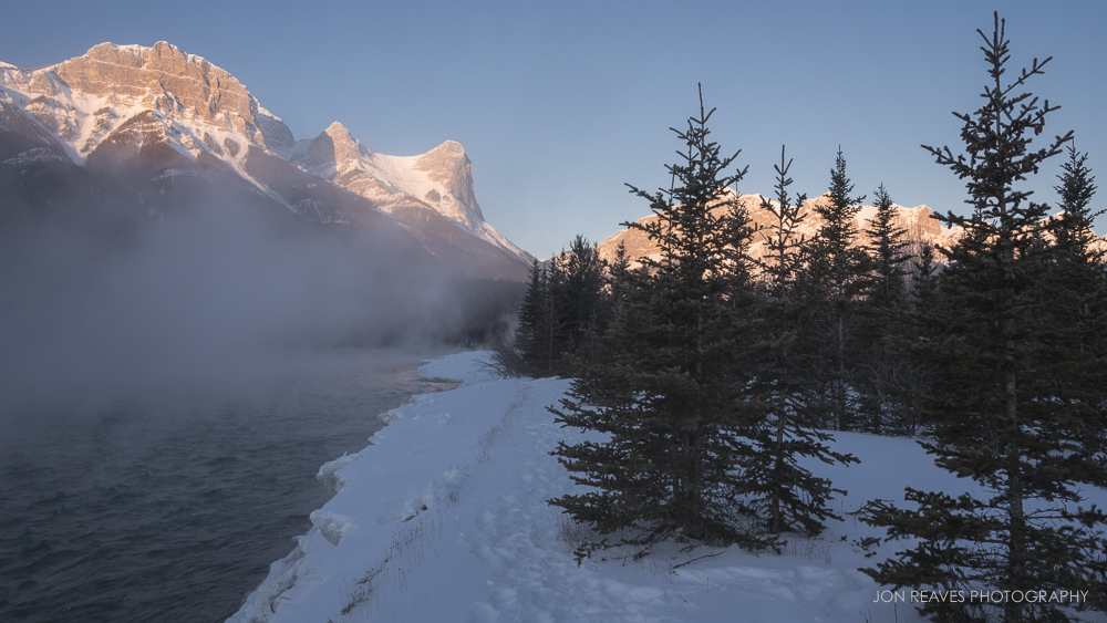 Ha Ling Peak and the Bow River at Sunrise, Canmore, Alberta