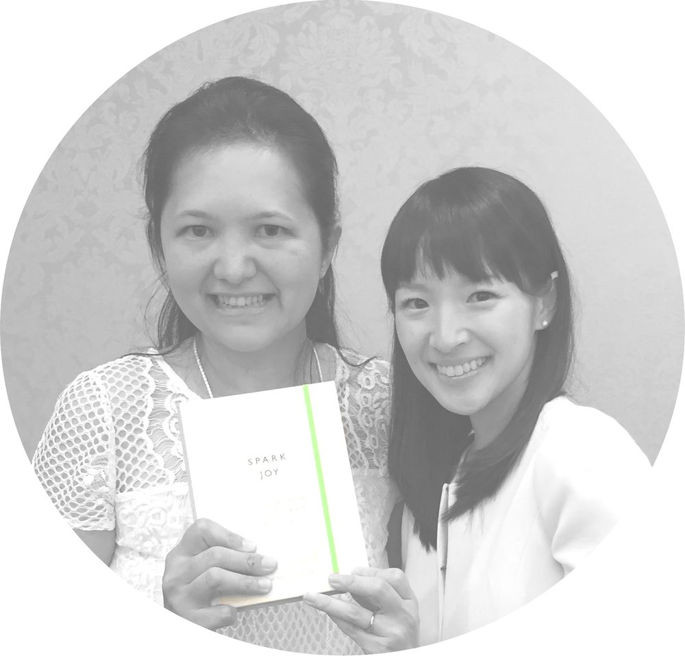 Aline Lau and Marie Kondo at the first KonMari Consultant Seminar in New York.