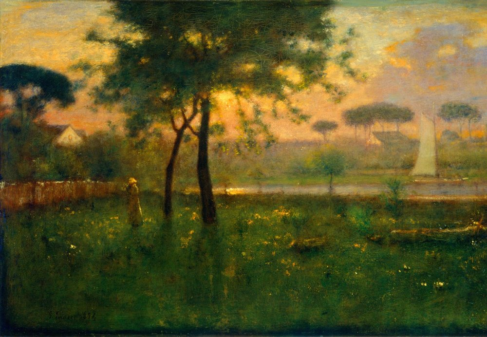 George Inness (1825-1894), Rosy Morning, 1894, Oil on canvas 30x45 inches, Gift of the Joseph H. Davenport, Jr. family in memory of Laura Voight and Joseph Howard Davenport, acc#1982.34