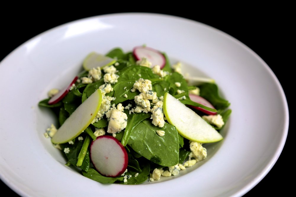 Organic Baby Spinach salad at Little Pearl