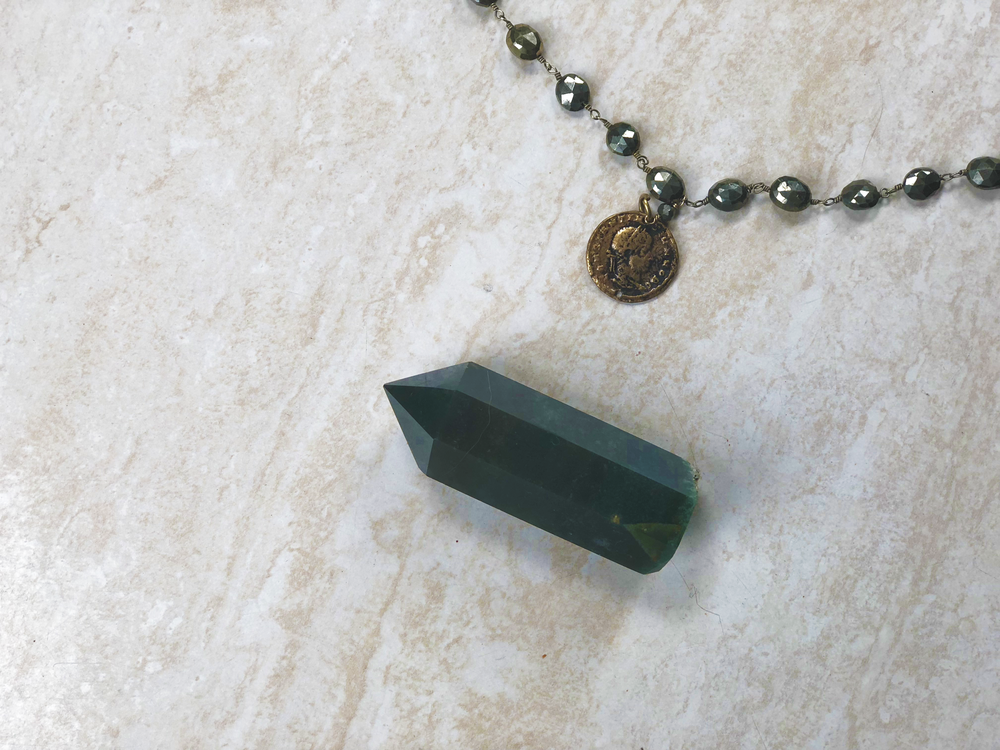 moss agate and vintage coin