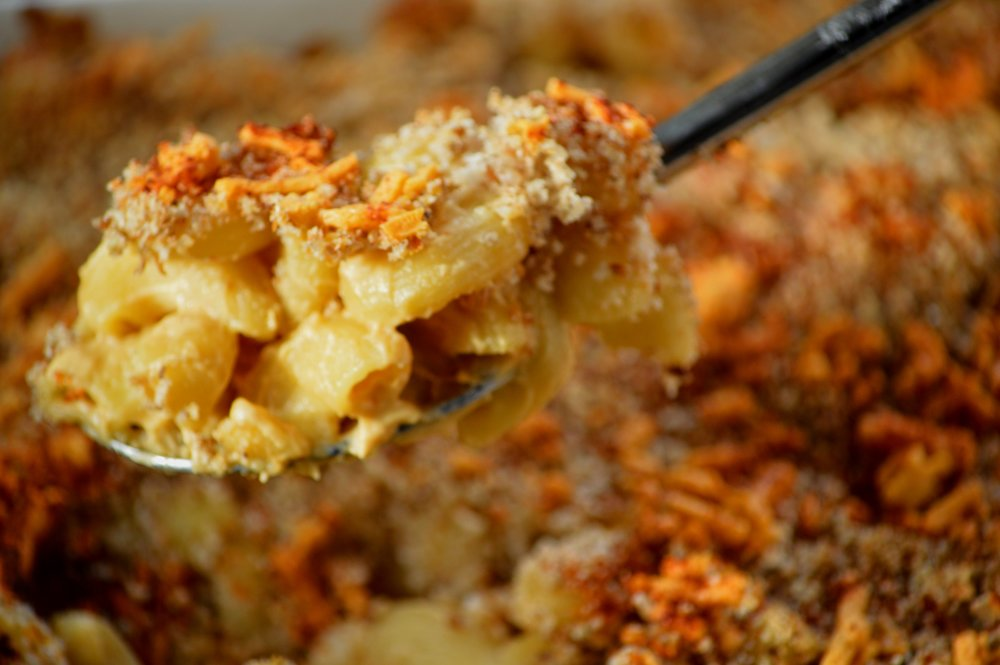 Topped with bread crumbs and vegan cheese and then baked for 30 minutes.
