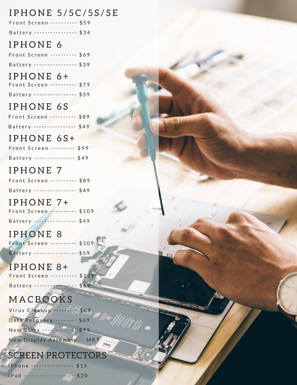 MyPhonesUnlimitedRepairPrices