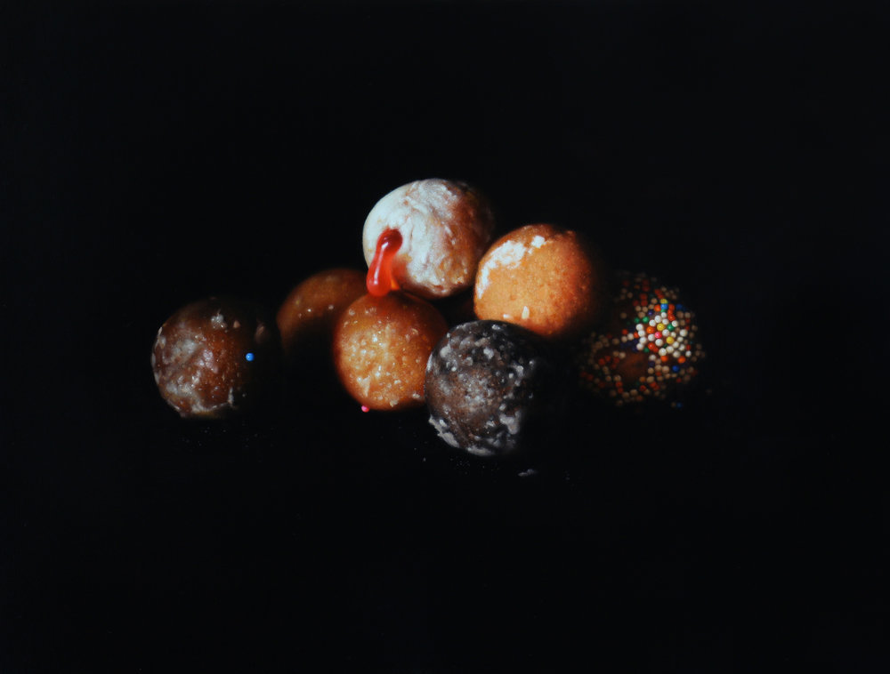 Timbit Pile. Oil on panel.