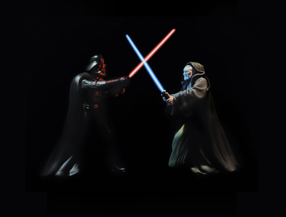 Darth Vader vs. Obi Wan Kenobi. Oil on panel.