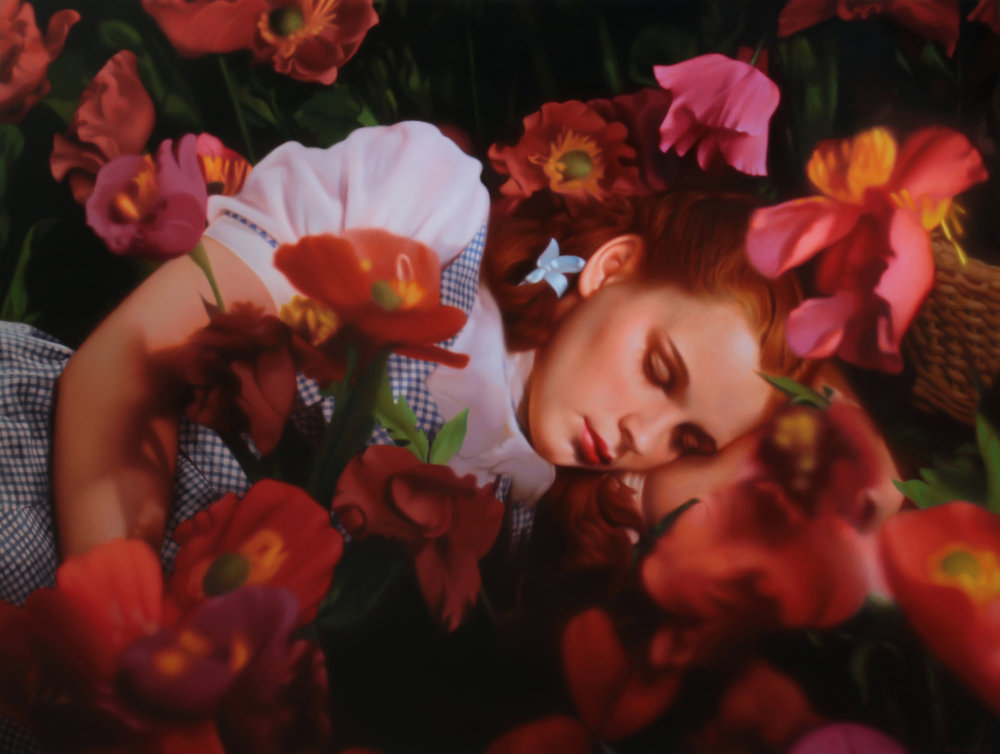 Dorothy in Flowers.Oil on panel.