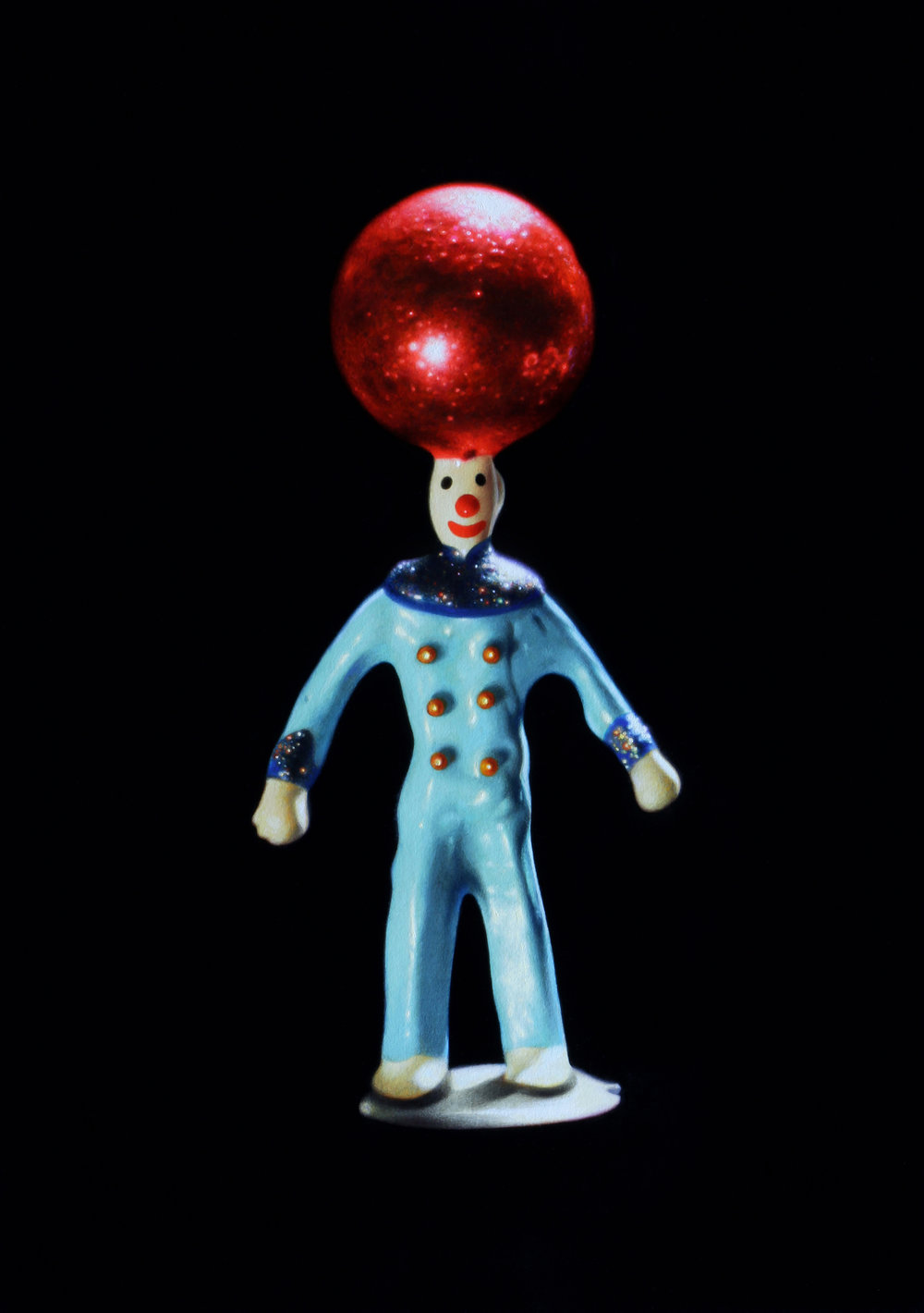 Clown with Red Ball. Oil on panel.