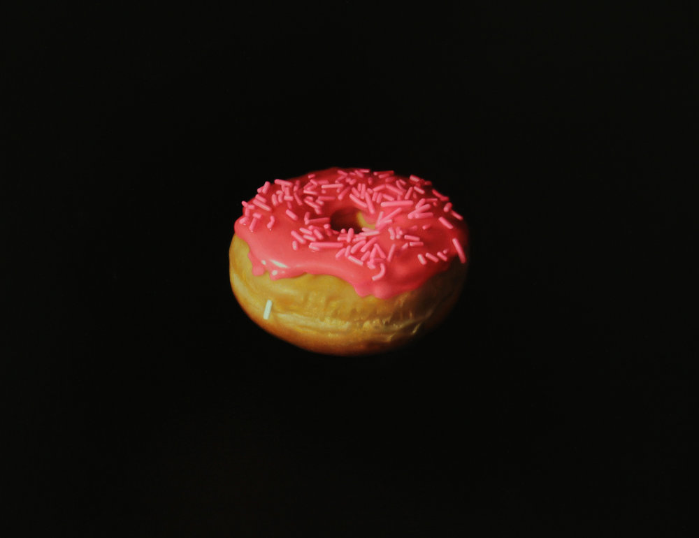 Pink Sprinkle Donut. Oil on panel.