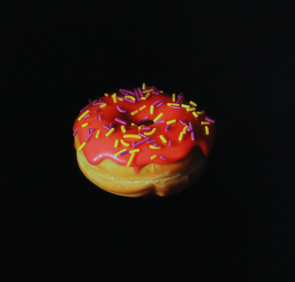 Red Sprinkle Donut. Oil on panel.