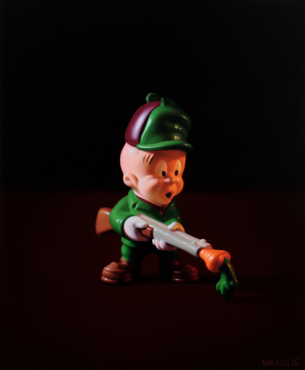 Elmer Fudd. Oil on panel.