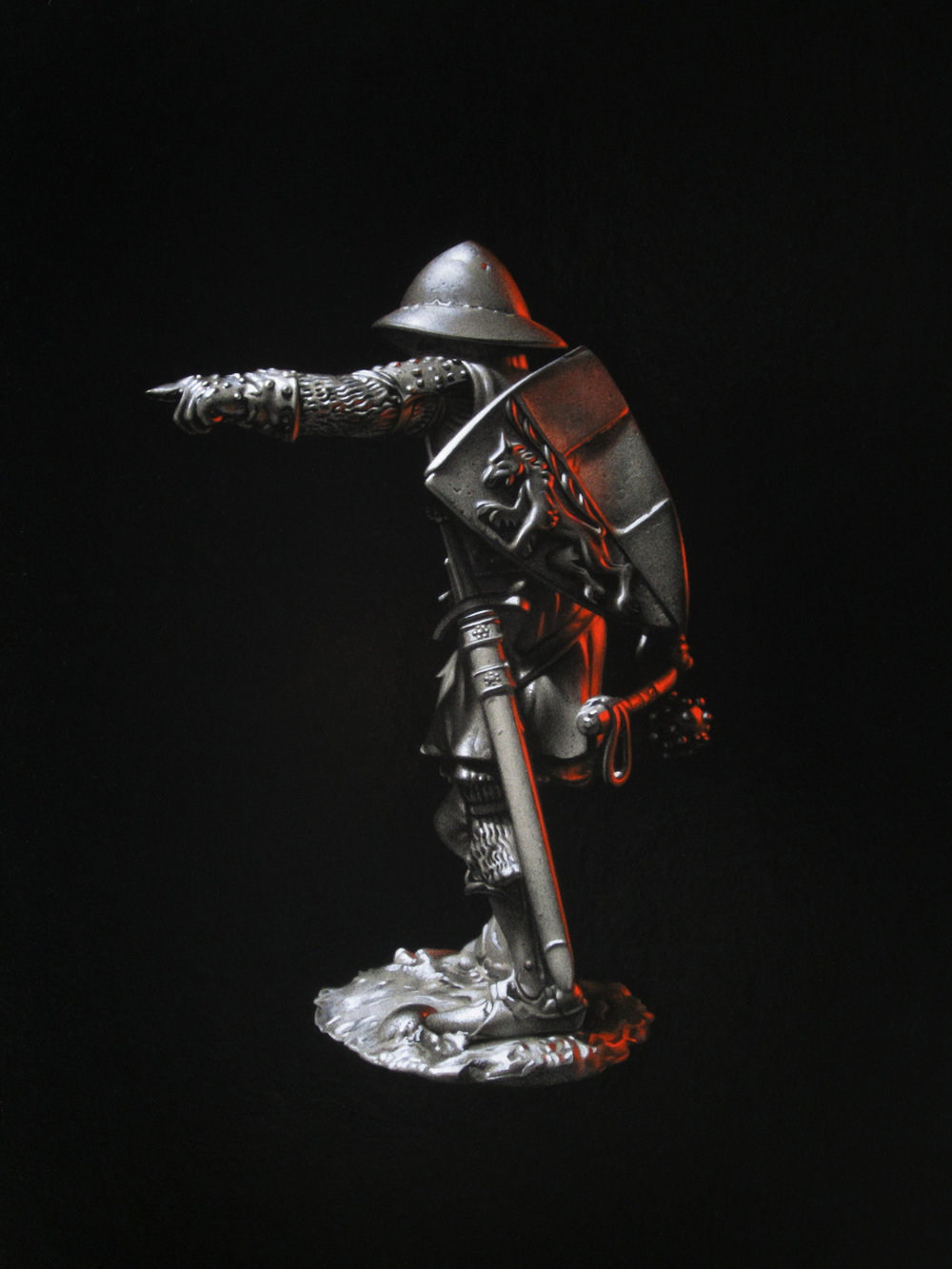Silver Warrior. Pencil and oil on panel.