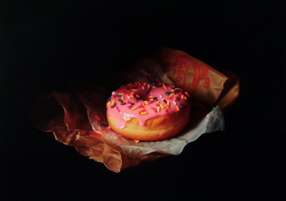 Dunkin Donut. Oil on panel. 2017.