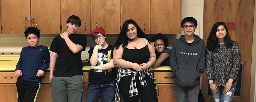 Pictured (left to right): Derek, Jacob, Josie, Danisha, Janique, Oziel, and Yashika!