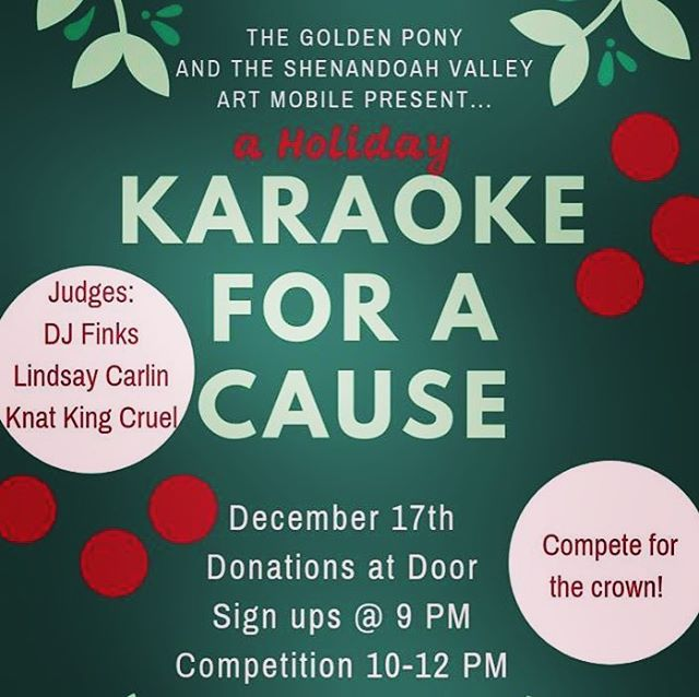 KARAOKE CONTEST at the Pony! Mark your calendars for Monday the 17th! Arrive promptly at 9pm to sign up, there will be limited entry slots✨🎤🎶🏆👑• • • • • • • #karaoke #karaokecontest #artmatters #hburgrocks #singyourheartout #therewillbeacrown #charity #benefit #artmobile #prize #contest #thejudgesaregonnaroastyou #wearyourcostume #holidaytheme #whosgonnadomariah #probablycimmaron