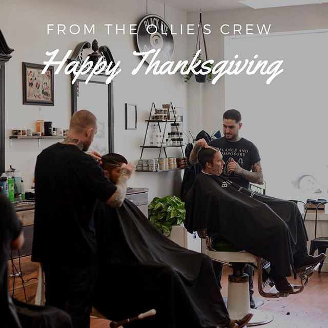 Thankful for every person who has sat in our chairs. Thankful for everyday the lights are on and the clippers are running. Thankful that barbering let's us provide for our families. Thankful to have such a tight crew. 🙏 HAPPY THANKSGIVING!