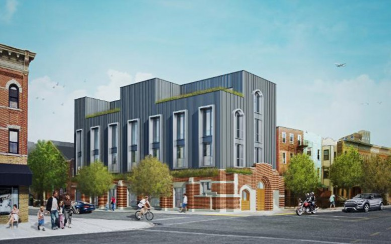 Four-Story, Six-Unit Residential Project Revealed at 198 St. Nicholas Avenue, Bushwick - Last winter, YIMBY reported on plans to convert the single-story church at 198 St. Nicholas Avenue, on the Bushwick-Ridgewood border, into a four-story, six-unit residential building.