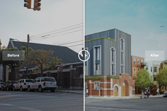 INTERACTIVE: See How This Bushwick Church Will Look as Condos - The architect aimed to connect the church with the residential addition by using arched windows in the front and adding horizontal planters along the sides.