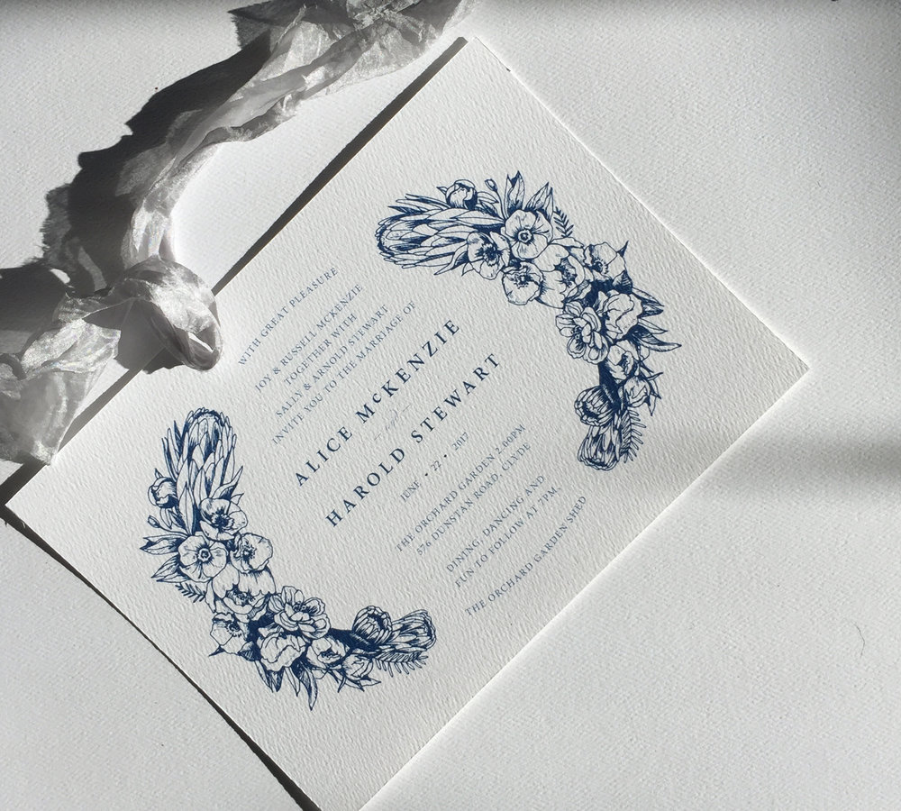 Aureate semi-custom invitation in navy, customise to suit your accent colour or metallic accent.