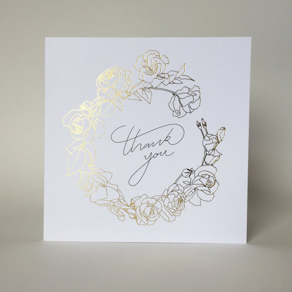 Foil 'Thank You' gift cards available online. For quantities larger than 30, contact us directly for wholesale prices.