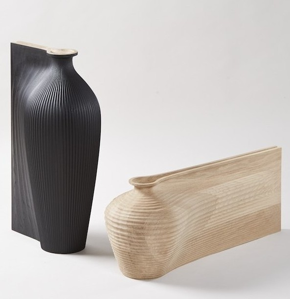 Zaha Hadid and Gareth Neal, Tall Black Vessel, Low Oak Vessel, 2014. 75.5 x 44 x 32 cm and 34 x 87.5 x 30 cm. Photo: Petr Krejci