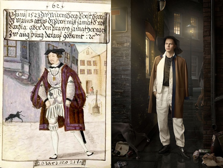 Left: Original watercolour of Matthaus Schwarz, 16th Century, Right: Maisie Broadhead and Bella Newell, The Date, 2014.