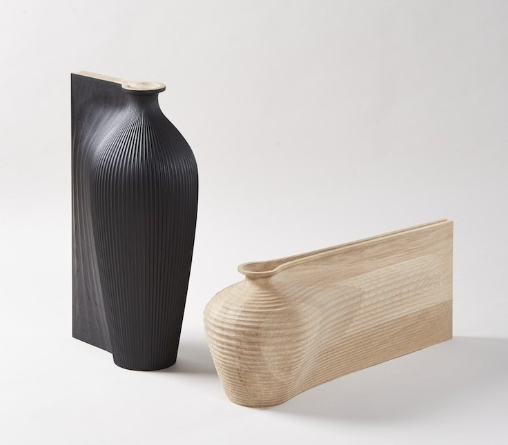Zaha Hadid and Gareth Neal, Tall Black Vessel, Low Oak Vessel, 2014