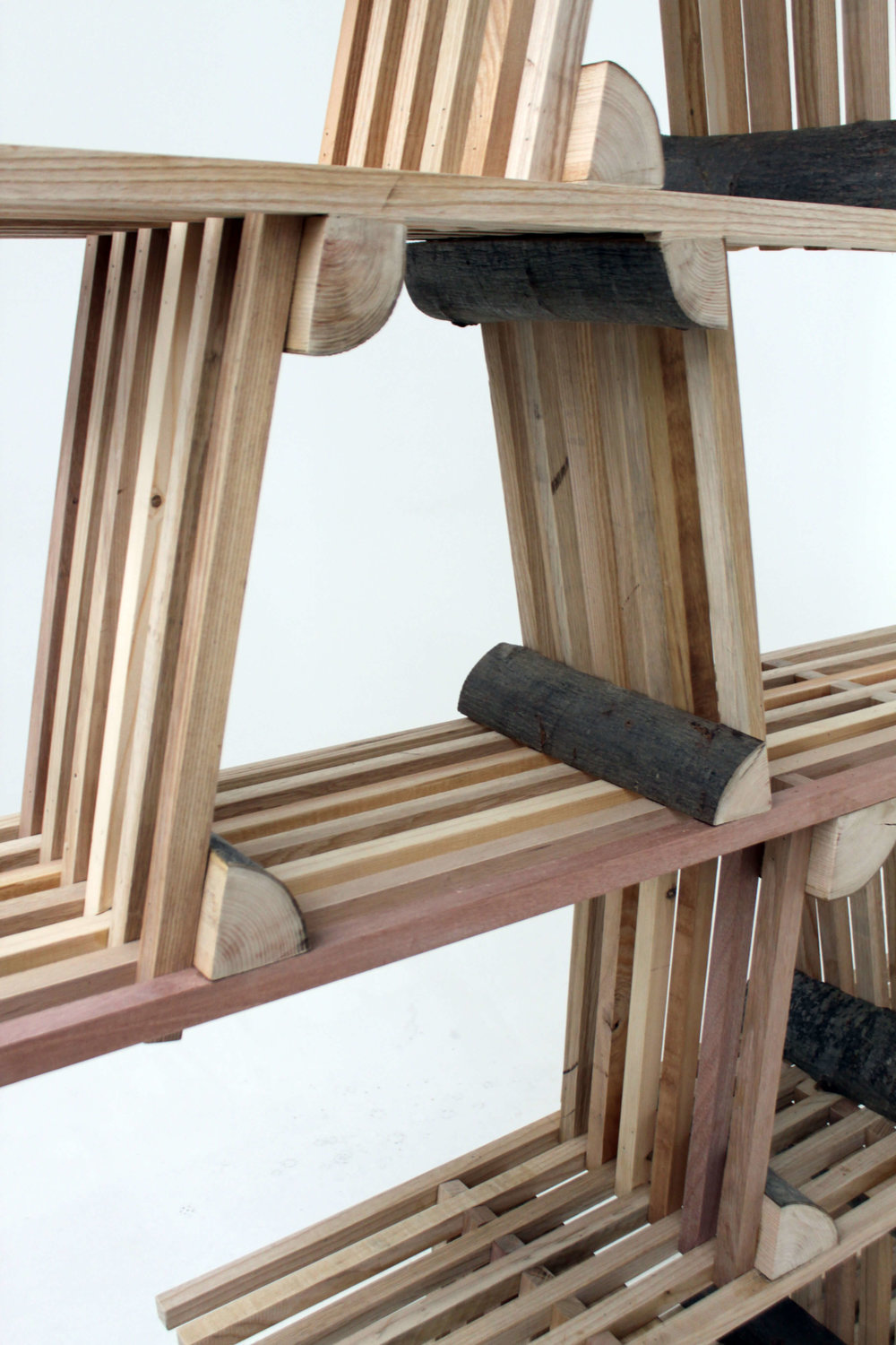 Details of a free standing shelf from the Split Series, 2017.