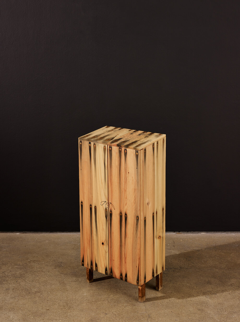 Small Bleed Cabinet 1, 2014. Cedar Wood, steel nails, 81 x 38 x 23 cm. Photo Credit Anna Arca