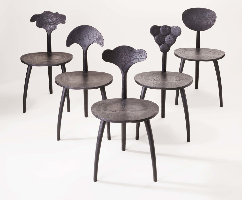 John Makepeace, Trine Chairs, Organic Collection, 2017. Oak, (W)45 x (D)48 x (H)80 cm each