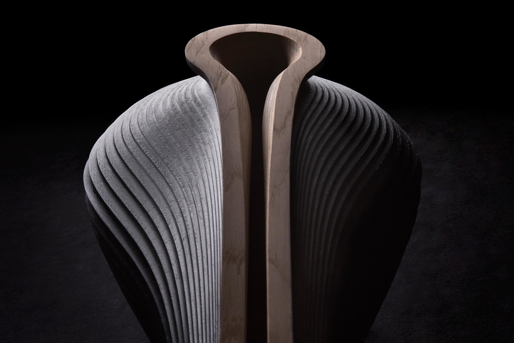 Zaha Hadid and Gareth Neal VE-SEL, 2014. American white oak, ebonised, 34 x 87.5 x 30 cm, edition of 12. Photo by Petr Krejci