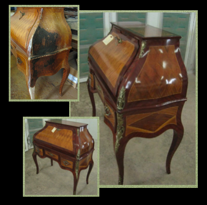 This antique desk was burned in a fire. Where it wasn't charred, heat, steam and chemicals stripped away what remained of the finish. Without restoration the piece would have been a total loss. Painstaking marquetry replacement, re-carving and finish work restored the piece to its original beauty.