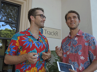 Co-founder and CEO of TrackR Chris Herbert and his partner, Christian Smith