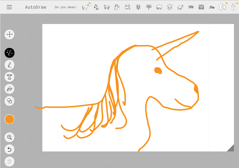 AutoDraw apparently not supporting unicorns yet