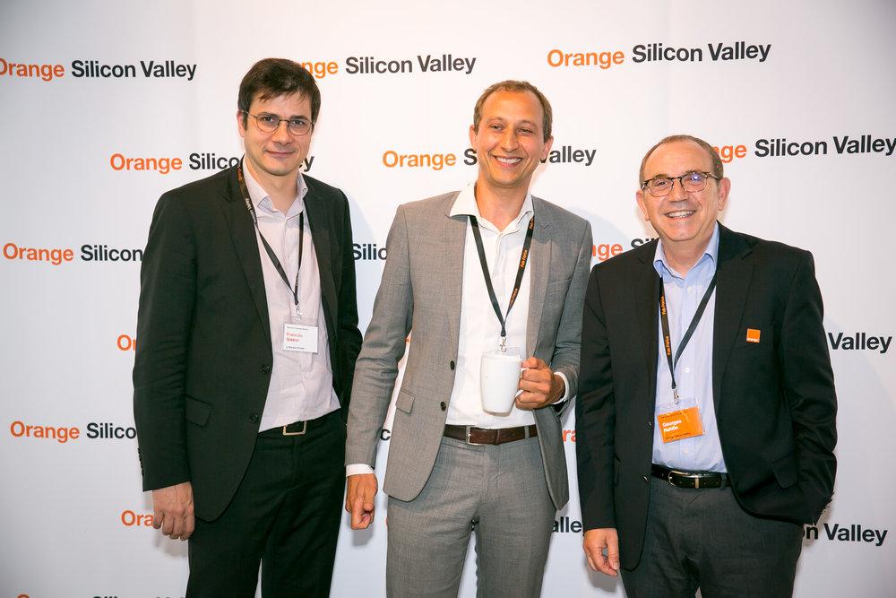Francois Boldron,Olaf Klargaard, and Georges Nahon on the orange carpet.
