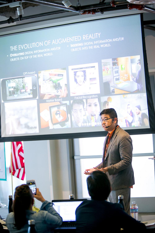 Tipatat Chennavsin during his AR/VR keynote address.
