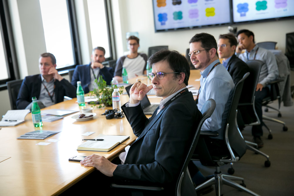 Intense concentration during the Fintech Council session from Francois Boldron of La Banque Postale.
