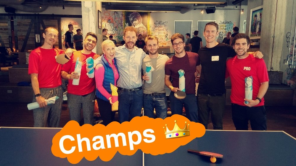 The tournament winners with the SPiN Pros (PS--follow us on Snapchat @orangefabsf)