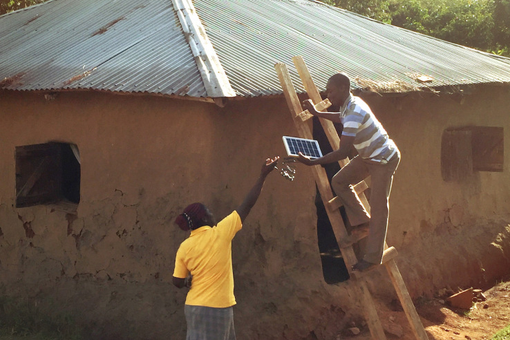 Installing an Angaza solar grid in Africa