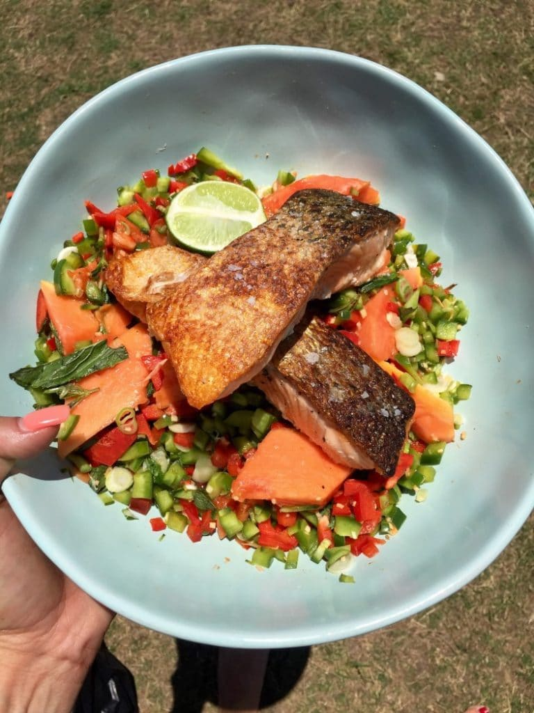 Salmon Papaya Salsa Salad by Dani Stevens with Olive Oils from Spain