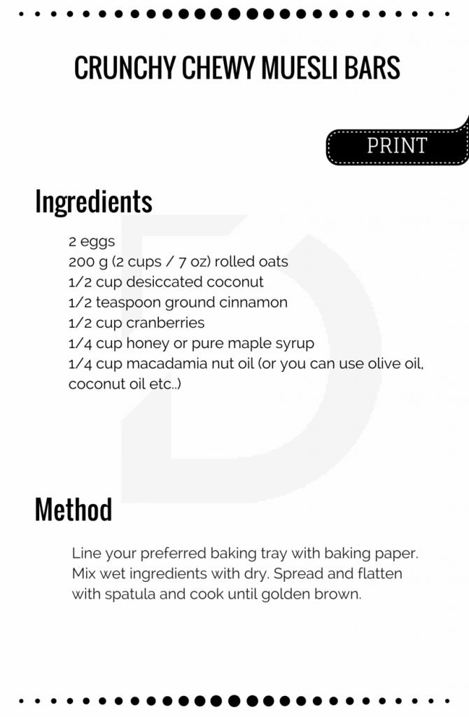 Crunchy Chewy Muesli Bars Recipe