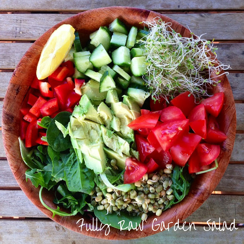 Fully raw garden salad