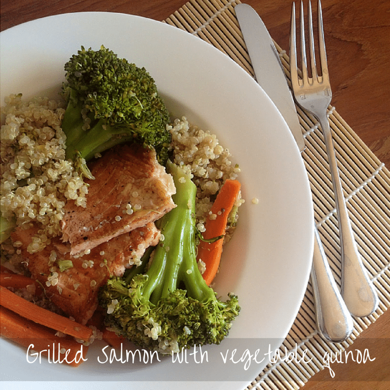 Grilled Salmon with vegetable quinoa