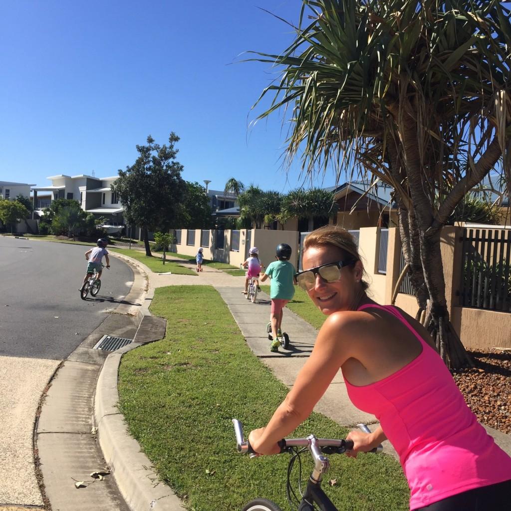Dani Stevens Family Fitness bike riding