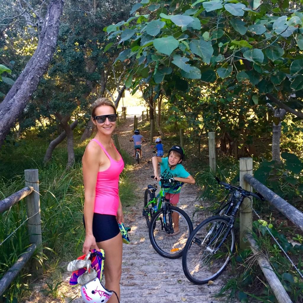 Dani Stevens family fitness fun beach style