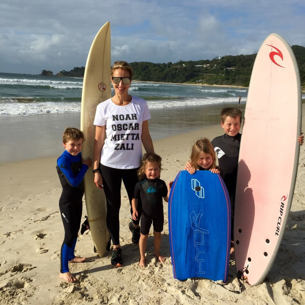 Dani Stevens family fitness surfing Byron Bay