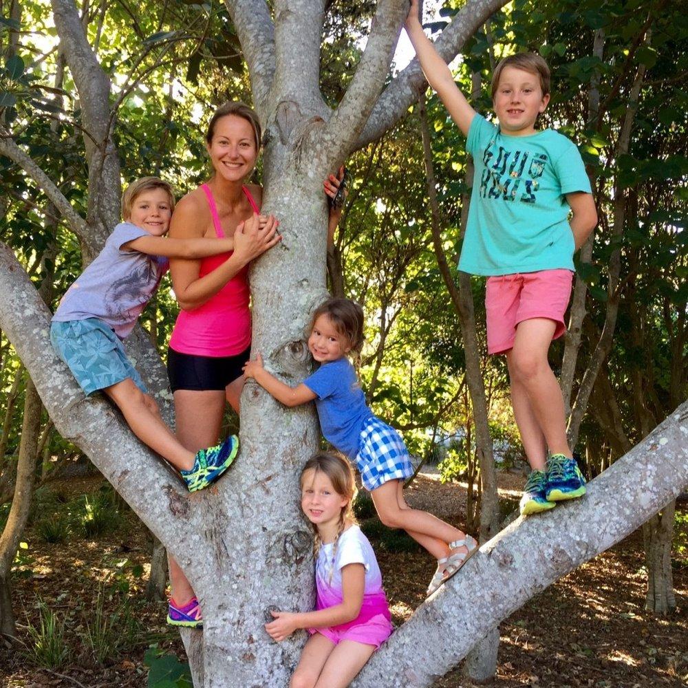 Dani Stevens family fitness tree fun